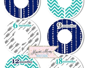 ON SALE Custom Closet Dividers Organizers Baby Shower Gift Nursery Decor Navy Teal Gray Arrow Chevron Tribal Aztec Clothes