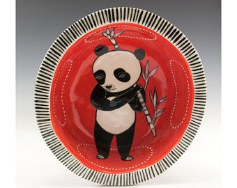 Adorable Standing Panda Bowl - A Painted Bowl by Jenny Mendes