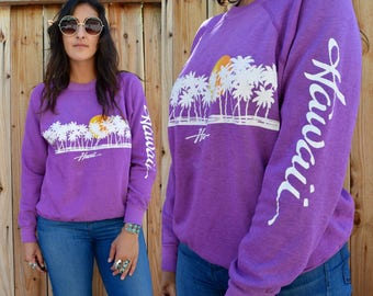 Vintage 80s HAWAII Sunset & Palm Tree Graphic Pullover Sweatshirt M
