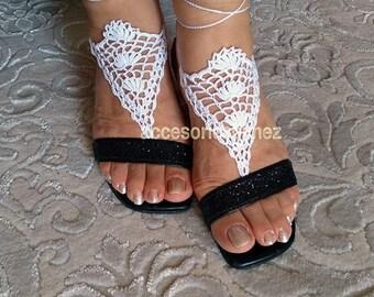 Crochet Barefoot Sandals Pattern, Crochet Pattern, Fingerless Gloves, Beach Wedding Barefoot Sandals,Crochet Barefoot Beach Sandals
