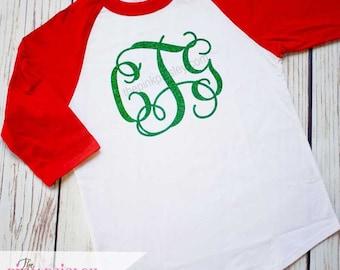 Girls Monogrammed Christmas Shirt | Kids Personalized Raglan Shirt | Monogrammed Raglan