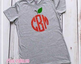 Teacher Monogram Shirt | Personalized Teacher | Apple Monogram Tee | Jean Day Shirt | Back To School