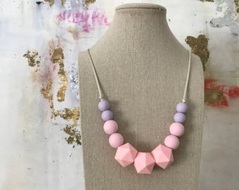 Teething Necklace - Silicone Beads - Chewable Jewelry - Mom Jewelry - Baby Gift -Pink & Purple Necklace