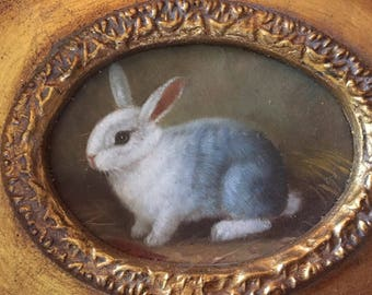 Vintage painting of baby bunny