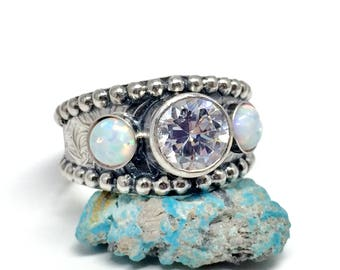 opal ring with cz sterling silver western wedding ring unisex white diamond - Western Wedding Rings