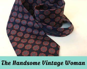 Vintage Oscar de la Renta Couture Necktie, Silk Jacquard, Dark Blue Pattern