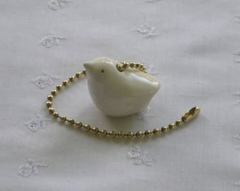 Primitive Pottery Bird Ceiling Fan/Light Pull - Ivory White - Brass or Nickel Chain - USA Handcrafted