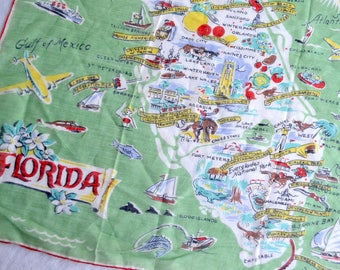 Vintage Hankie - Florida State Souvenir - Burmel Tag