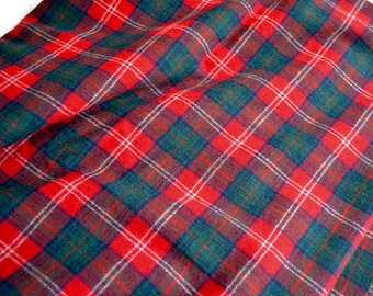 Vintage Wool Fabric - Green and Red Tartan Plaid - 60 x 56