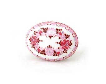 MICHAELA FREY Pink Enamel Floral Brooch • Small Austrian Flower Pin • Vintage 1980s Jewelry