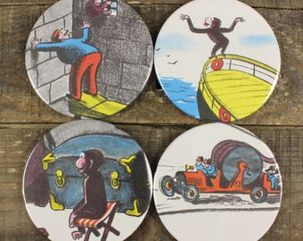 Curious George set of Four Coasters Vintage Kid's Book Recycled Upcycled