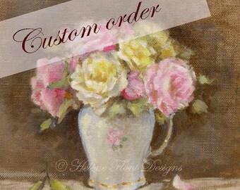 RESERVE à Suzanne Peinture Tableau Toile Lin Bouquet de roses anciennes  Fantin Latour  Limoges porcelaine Fleurs  © Hélène Flont Designs