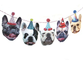 French Bulldogs Birthday Garland - photo reproductions on felt - funny Frenchie portraits birthday banner