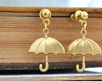 Big rain drop on my tiny Umbrella, Umbrella earrings, stud earrings, vintage crystal earrings, mix and match, earrings gift sets