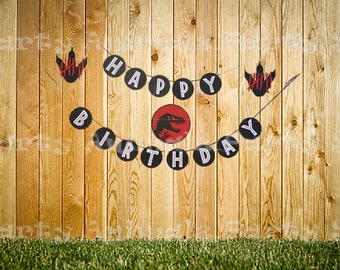 Printable Jurassic Park Happy Birthday Banner Plus Circle Letters in 3 Different Colors , Instant Download Jurassic Park Decorations