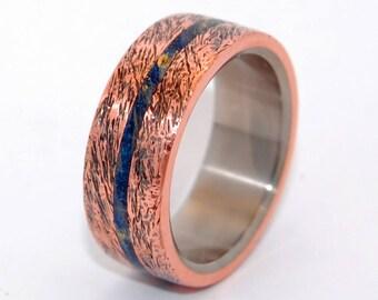 unique ring, Titanium wedding ring, wedding ring, titaniun rings, mens ring, womens rings, eco-friendly - ONE SOUL HAND beaten copper