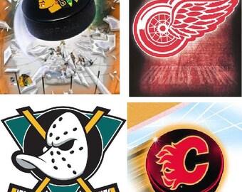 Lot Of 12 Western Hockey NHL Fabric Panel Quilt Square Blocks
