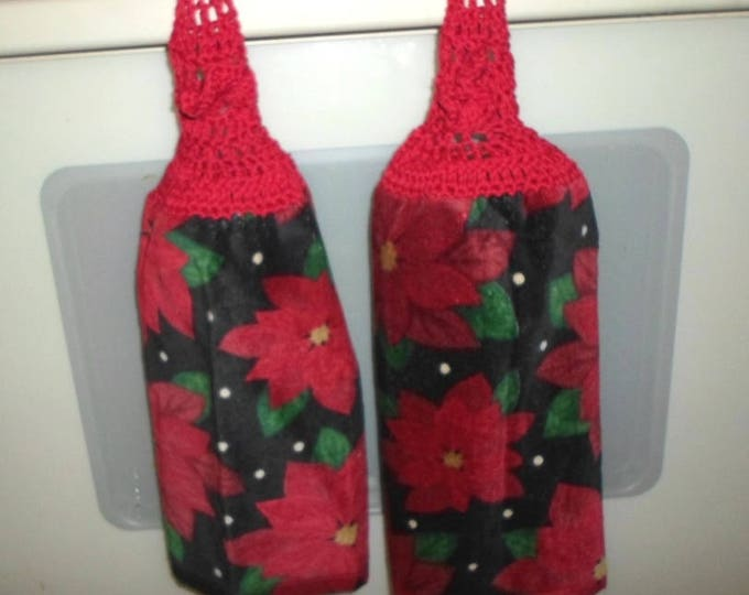 Kitchen Towel - Kitchen Towel with Crochet Towel Topper - Poinsettias - Great Decoration for the Kitchen for Christmas