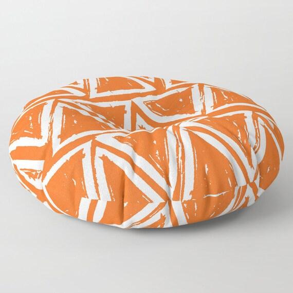 Orange floor cushion - Round cushion - Orange Pillow - Round pillow - Floor pillow - Geometric pillow - 26 inch pillow - 30 inch pillow