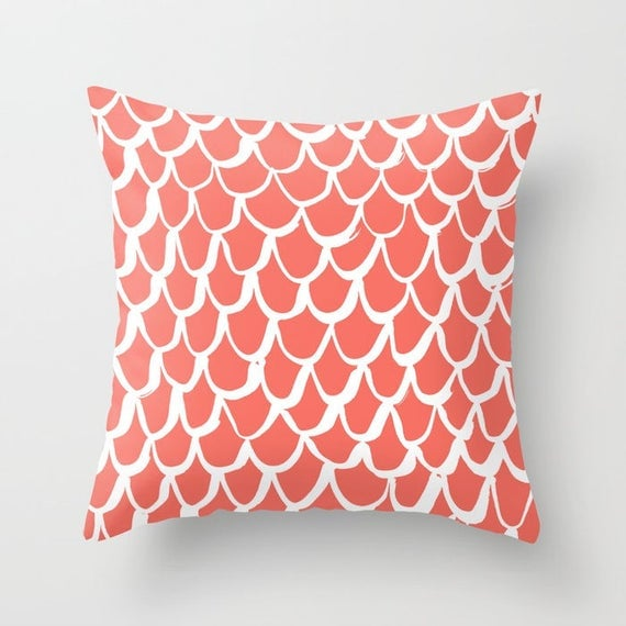 OUTDOOR Throw Pillow - Mermaid Outdoor Pillow - Coral patio cushion - 16 18 20 inch - Coral Mermaid Outside Pillow - Mermaid Salmon Pillow