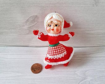 Vintage Mrs. Claus Christmas Flocked Ornament