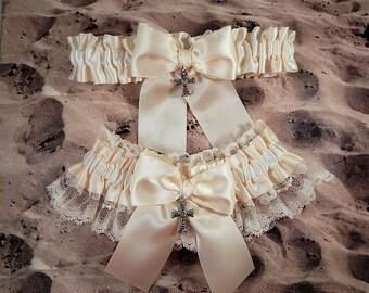 Wedding Garter Belt Toss Set Holy Cross Ivory Ribbon Ivory Lace Bridal Wedding Garter Toss Set Ready to Ship