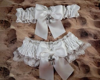 Wedding Garter Belt Toss Set Holy Cross White Ribbon white Lace Bridal Wedding Garter Toss Set Ready to Ship