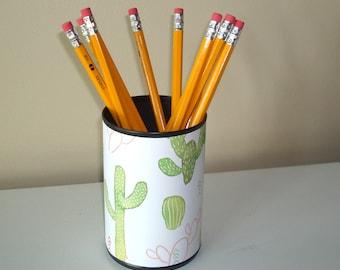 Succulent Pencil Holder / Cute Cactus Desk Accessories / Polka Dot Pencil Cup / Office Desk Organizer / Dorm Decor - 1075