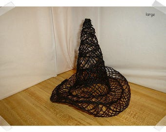 "Black Abaca Witch Hat/ 8"" tall/ Holiday Decor/ Craft Supplies*"