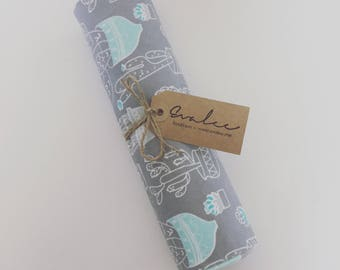 Cactus Swaddle Blanket - Grey and Blue Flannel Receiving Baby Blanket - FREE SHIPPING in USA