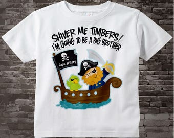 I'm Going To Be A Big Brother Pirate Shirt Personalized Pirate Shirt or Onesie with Your Child's Name 08272011b