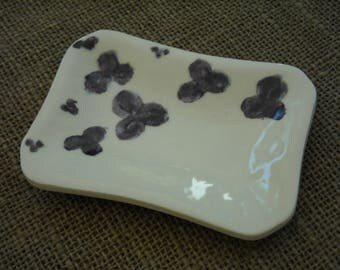 Flowered Soap Dish - Purple Flowers - Bathroom Accessory