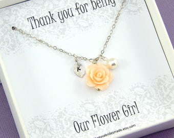 Flower Girl Necklace,Flower Girl Gift,Personalized Necklace,Our Flower Girl Thank you,Junior Bridesmaids,Flower Necklace
