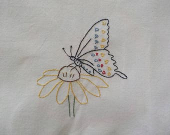 Swallowtail tea towel-hand embroidered