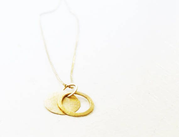 14k Gold Necklace / Two Round 14k Gold Pendants / 2 Charms Gold Necklace / Gold Charm / Simple Gold Hammered Necklace / Gold Jewelry