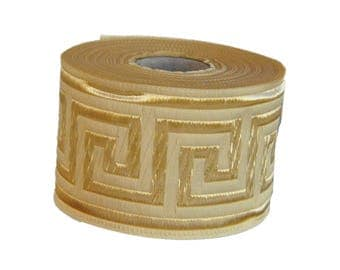 Cream  and Gold  Greek Key Jacquard  Ribbon  Trim