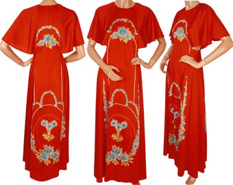 Vintage 1970s Red Maxi Dress with Butterfly Sleeves - S