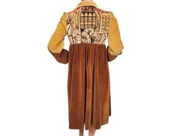 Vintage 1960s Velvet Coat Hippie Coat - Middle Eastern Scene Tapestry  - S