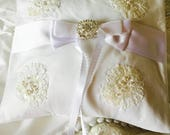 Heirloom Ring Bearer Pillow, made from moms wedding dress, Vintage wedding accessory