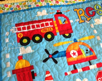 Firetruck Blanket Quilt - Blue Red Green Yellow - READY TO SHIP - Safety Heroes - Ambulance Helicopter Police - Minky Quilt