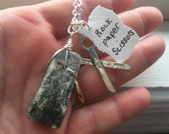 Rock Paper Scissors Necklace - Free Gift With Purchase