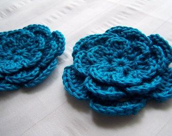 Crochet flower 3 inch Pima cotton blue set of two flower