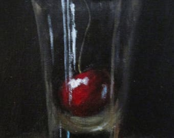 Cherry and Shot Glass - original daily painting by Kellie Marian Hill