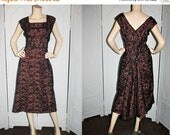20% OFF Vintage 1950's Dress. Black and Pink Illusion Dress with Back Train and Bustle. Large to XL.