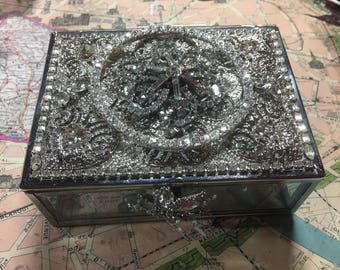 OOAK Glass Jewelry Box Made with Vintage Rhinestone Jewelry by Cindy Bussiere