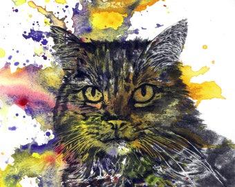 Custom Pet Portrait Painting Custom Cat Portrait Your Favorite Anything in a Splash of Color Cat Art Painting Print
