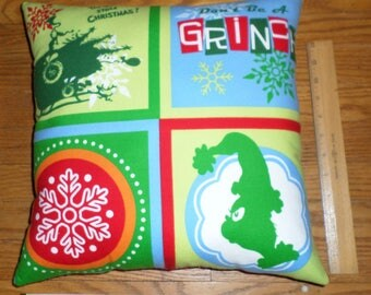 New THE GRINCH Christmas Flannel Fabric Decorative Pillow