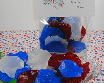Soap  - Fireworks Petal Soaps -Individual Rose Petal Soaps - Glycerin Soaps - Wedding Favor - Guest Soap - Red,White and Blue - SoapGarden