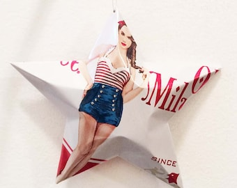 Old Milwaukee Pinup Can Beer Can Stars,  Recycled Beer Can Ornaments, Christmas Gift for Beer Lover, Summer Bathing Beauty, Patriotic
