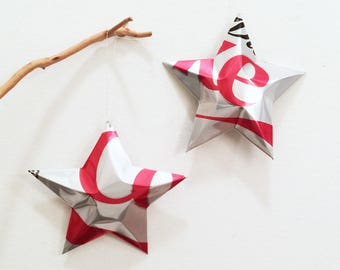 DIET Coke Stars Christmas Ornaments Soda Can Upcycled Coca Cola